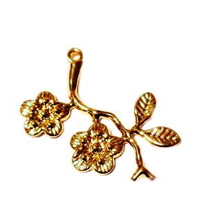 Pandantiv placat cu aur, floare 26x23x1mm 1 buc