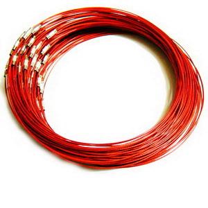 Baza colier, sarma siliconata, rosie, cu inchizatoare 1 buc