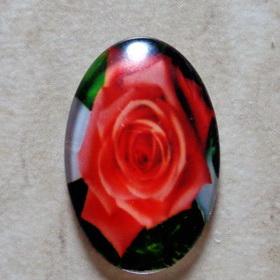 Cabochon sticla 30x20mm, flori, model 3 1 buc