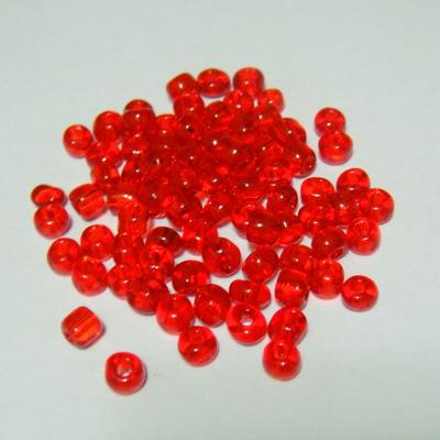 Margele nisip, rosii, transparente, 4 mm 20 g