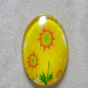 Cabochon sticla 30x20mm, flori, model 20 1 buc