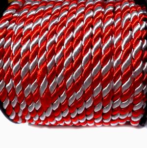 Snur matase rasucit, alb-rosu, pentru martisor,  5mm 1 m