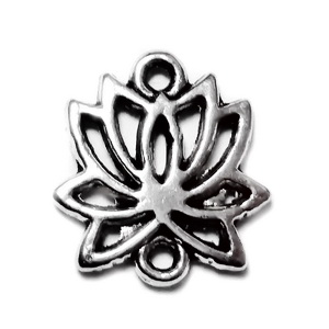 Conector/link tibetan, floare de lotus, 16x15x2mm 1 buc