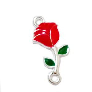 Conector/link metalic, emailat, argintiu cu rosu, trandafir 21x10x2mm 1 buc