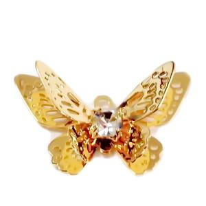 Pandantiv metalic, placat cu aur, fluturas, 13.5x20x4mm 1 buc