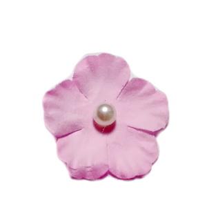 Floare hartie roz cu perla alba, 30mm 1 buc
