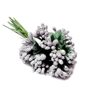 Buchet 12 flori argintii, din stamine, 7-8 cm 1 set