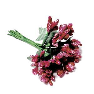 Buchet 12 flori bordo, din stamine, 7-8 cm 1 set