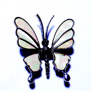 Brosa/pandantiv tibetan cu sidef albastru, fluture 58x30mm 1 buc