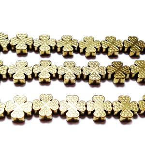 Margele hematite, aurii, trifoi cu 4 foi, 8x8x2.5mm 1 buc