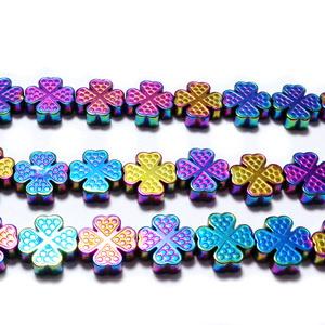 Margele hematite, placate multicolor, trifoi cu 4 foi, 8x8x2.5mm 1 buc