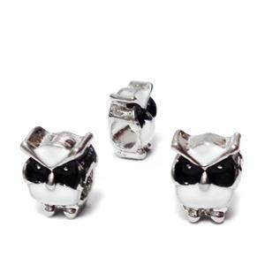 Margele tip Pandora, metalice, emailate, albe cu negru, bufnita 12x9x8mm  1 buc