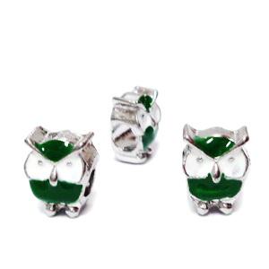 Margele tip Pandora, metalice, emailate, albe cu verde, bufnita 12x9x8mm  1 buc