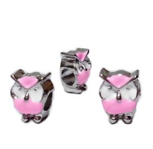 Margele tip Pandora, metalice, emailate, albe cu roz, bufnita 12x9x8mm  1 buc