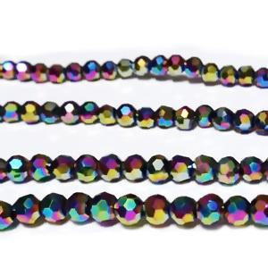 Margele sticla multifete, multicolor, AB, metalizat 4mm 10 buc