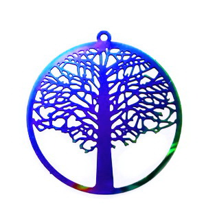 Pandantiv otel inoxidabil 201, electroplacat, multicolor, copacul vietii, 43x40x0.2mm 1 buc