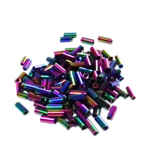 Margele nisip, tubulare, placate multicolor, 4.5~5x2mm 20 g