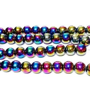Margele sticla, multicolore, AB, 5.5x6mm 10 buc