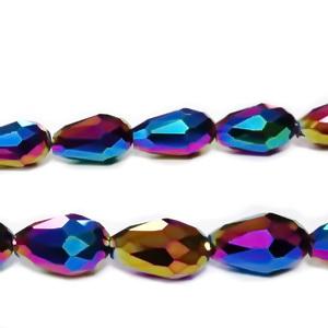 Margele sticla, multifete, multicolore, AB, lacrima 15x10mm 1 buc
