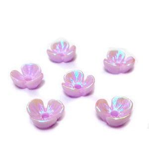 Flori plastic mov, placat multicolor, 6x6x2.5mm 1 buc