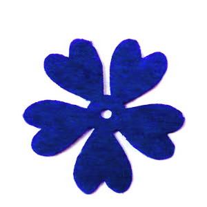 Fetru albastru-cobalt, floare 35x35x0.8mm-set 4buc 1 set
