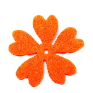 Fetru portocaliu, floare 35x35x0.8mm-set 4buc 1 set