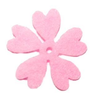 Fetru roz, floare 35x35x0.8mm-set 4buc 1 set
