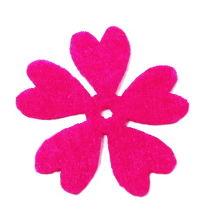 Fetru fucsia, floare 35x35x0.8mm-set 4buc 1 set