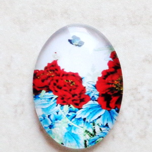 Cabochon sticla 25x18mm, flori, model 30 1 buc