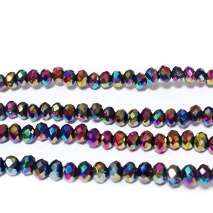 Margele sticla multifete, placate multicolor, 3x2mm 1 buc