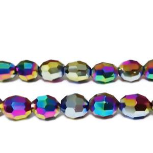 Margele sticla, ovale, placate multicolor, 7.5x6mm 1 buc