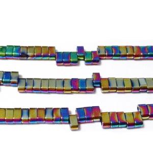 Hematit sintetic placat multicolor. cu 2 orificii, 4.5x2.2x2.2mm 1 buc