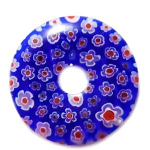 Pandantiv sticla Millefiori, albastru cu floricele rosii, 35x5.5mm 1 buc