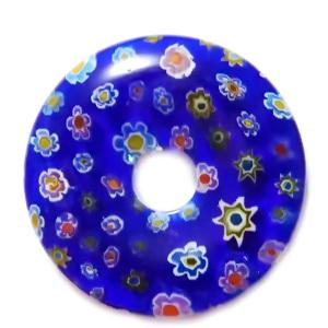 Pandantiv sticla Millefiori, albastru cu floricele multicolore, 35x5.5mm 1 buc