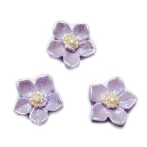 Cabochon rasina mov, sidefat, floare 12.5x12.5x3.5mm 1 buc