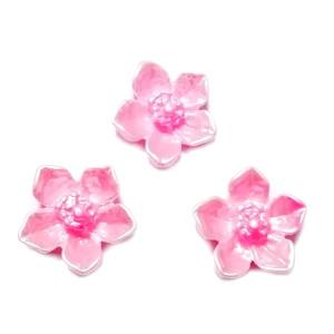 Cabochon rasina roz, sidefat, floare 12.5x12.5x3.5mm 1 buc