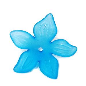 Flori acrilice, frosted, albastre, 29x7mm 1 buc