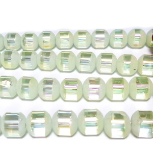 Margele sticla galben deschis, frosted cu liniute AB, 6.5mm 1 buc