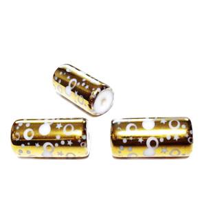 Margele sticla albe electroplacate auriu, cu cercuri, tub 20x10mm 1 buc