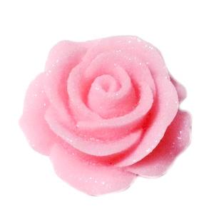 Cabochon rasina roz, frosted, cu luciu, 30x30x11mm, baza 22~24mm 1 buc