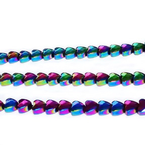 Hematite multifete, placate multicolor, inimioara 4x4x2mm 1 buc