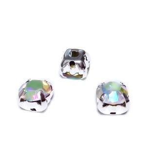 Margele montee rhinestone, sticla, rotunde, transparente AB, 6x5mm 1 buc