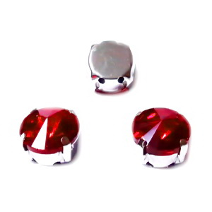 Margele montee rhinestone, sticla, rotunde, rosii, 10x7mm 1 buc