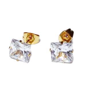 Cercei din oțel inoxidabil 304, aurii cu zirconiu cubic transparent de 8x8mm  1 pereche