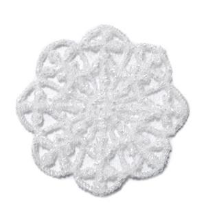 Pandantiv polyester, dantelat, alb, floare 35~37x1mm 1 buc