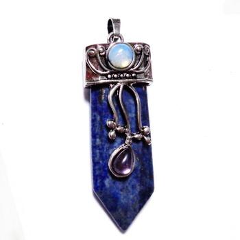 Pandantiv Lapis Lazuli cu argintiu antichizat si cabochon opalit,  57~61x20x14mm 1 buc