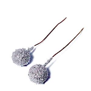 Fundita cu glitter alb si ornamente brad, 27cm 1 buc