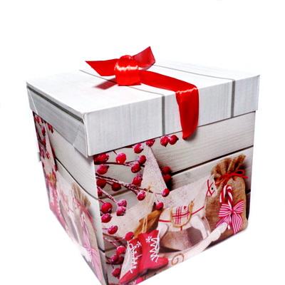 Cutie carton cu imagine Craciun, 15x15x14cm 1 buc