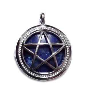 Pandantiv argintiu inchis cu steaua lui David si cu cabochon lapis lazuli, 32x25x8mm 1 buc