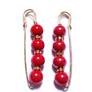 Brosa aurie cu perle plastic sferice rosii de 12mm, 76x11~14mm 1 buc